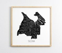 Super cool neighborhood map print of Tacoma, Washington by local Tacoma artist, Tim Norris. Each print is digitally printed on high-quality archival paper and i Apa Paper Example, University Place, Tacoma Washington, Art Supply Stores, Fine Art Paper, Wall Art Prints, The Neighbourhood, Map, Artist