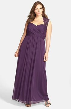 This one is pretty, too. A long dress is helpful for climbing under tables to set up tech equipment! Xscape Lace Yoke Ruched Jersey Gown (Plus Size) available at #Nordstrom
