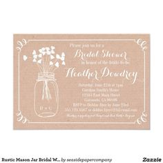 Rustic Mason Jar Bridal Wedding Shower Invitation