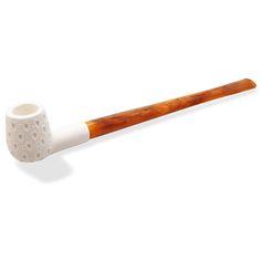 Royal meerschaum reading churchwarden smoking pipe straight billiard lattice #woodstonepipes