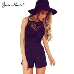 c2a66aed897 Macacao Feminino Shorts Female Rompers Womens Jumpsuit Sexy Backless  Bodycon Lace One Piece Jumpsuits Overalls For