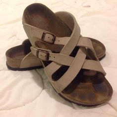 Authentic Birkenstock Sandals Authentic Birkenstock Sandals in good condition . Have tons of life left ! Very nice ! Just needs a good home Birkenstock Shoes Sandals