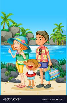 Family trip with parents and kid on the beach illustration stock vector - 81314534