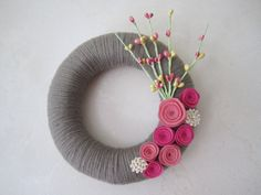 Simple grey & pink wreath