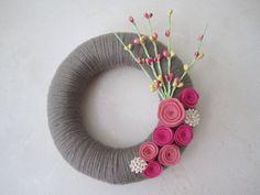 Simple grey & pink wreath