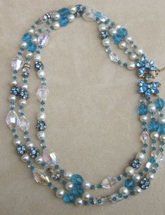 SCHIAPARELLI- signed vintage necklace; beautiful blues from runwayvintage on Ruby Lane