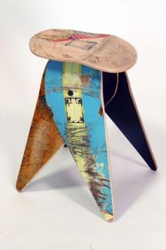 Details about Recycled Skateboard Stool - Deckstool No.487 - Skateboarder furniture gift