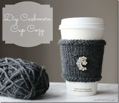 Make this Easy DIY Cashmere Cup Cozy - I added my grandmother's vintage broach for a touch of bling!