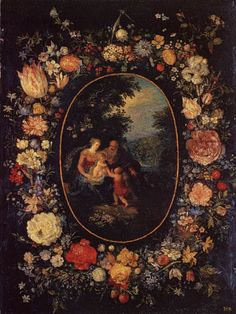 Jan Brueghel the Elder  - Flowers garland and the holy family