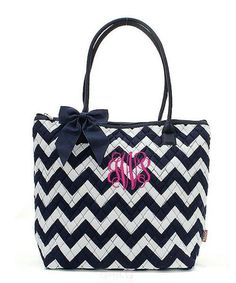 "Personalized Chevron Navy Blue White 16"" Quilted Tote Bag - Gifts Happen Here - 1"