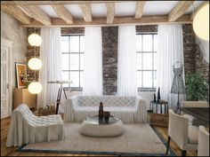 Living Room, Classic Style Designs for the Living Room: Brick Wall And White Loft Style Decoration By Proxy Of Evermotion