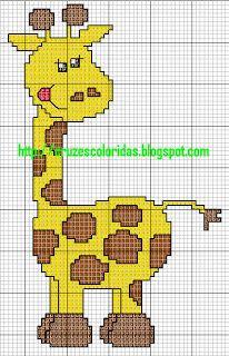 ENCANTOS EM PONTO CRUZ: Girafas em Ponto Cruz