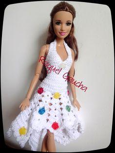 #Crochet #Barbie #Doll #Muñeca #Vestido #Dress #Cléa5 #Flores #RaquelGaucha