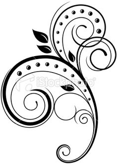 Elegant floral swirl in vector format Filigree Design, Swirl Design, Art Design, Design Elements, Stencil Patterns, Tangle Patterns, Embroidery Patterns, Clip Art, Motif Simple