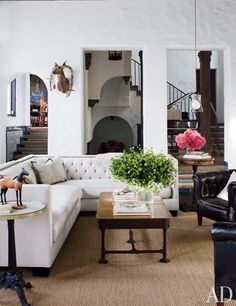 The living room reflects the eclectic style that runs throughout Sheryl Crow's 1926 Spanish Colonial hacienda.