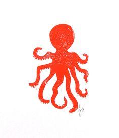 Grafik  Octopus rot Linolschnitt 8 x 10 Buchdruck von thebigharumph
