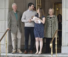 Chelsea and Marc, who have a daughter Charlotte, gazed lovingly at one another flanked by her overjoyed politician parents