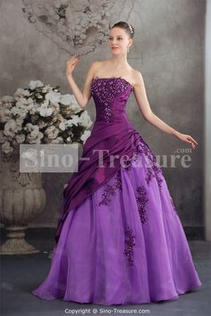 Grape Floor-Length Taffeta Strapless Sleeveless Prom Dress
