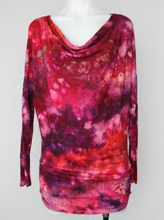 Boho tunic Ice dyed Cowl neck - size Small - Sunset Blush crinkle Find this item on https://a-spoonful-of-colors.myshopify.com/