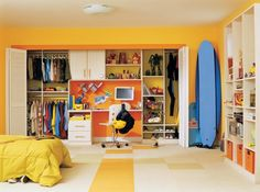 Child Closet with desk and clothes space - this is the general idea of what I want to do, though our closets are not this large.