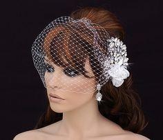 Birdcage Veil and Comb  Bird Cage Veil  Blusher  by EleganceByKate