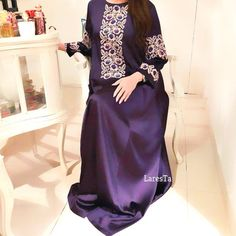 Purple satin dress with traditional cross-stitch embroidery Purple Satin, Hijab Wedding Dresses, Disney Wedding Dresses, Hijab Bride, Hijab Dress, Abaya Style, Abaya Fashion, Dresses, Kaftans