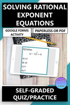 DIGITAL, NO PREP, SELF-GRADING practice, solving rational exponent equations. Engage your high school Algebra students with 10 problems using google forms. This resource can be used as a Google Form OR a worksheet activity. Detailed instructions and answer key included. Perfect for distance and online learning. #distance learning #digital #self-graded #rational exponents #rational exponent equations #equations #google forms High School Algebra, Algebra 2, Math Stations, Math Centers, Math Skills, Math Lessons, Math Resources, Math Activities, Solving Equations
