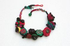 Colorful statement fiber necklace crochet felt by rRradionica
