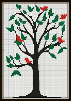 Cross Stitch Pattern Tree with birds modern by SilhouetteCentral, $4.00