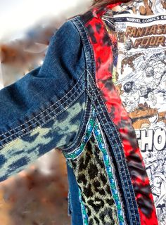 Marvel-Cheetah Hand Upcycled jacket by daughter/mother team Sophia Scanlan and Victoria Pero for Stubborn Jeans. $100