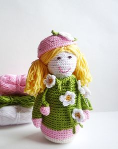 #Crochet Strawberry #Doll #Amigurumi by MonikaDesign on Etsy,