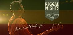 Reggae Nights Summer Concert Series Logo: James Island, Friday Nights, Gates open at 7:30 p.m.; Music begins at 8:30 p.m. Gates close at 10:30 p.m., and concerts end at 11 p.m.
