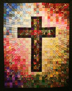 Cross Quilt at San Rafael's Episcopal/Lutheral Church in Benson, Arizona.  It was hand made by members of the church for their new church which they moved into this year.