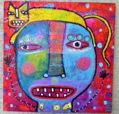 "Tracey Ann Finley Original Outsider Raw Brut Folk Graffiti Painting Cat On Head  ""That Cat!"""