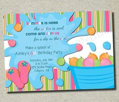 Water bash party invitation for boys personalized party birthday party invite with water balloonswould just need to adjust language for stopboris Choice Image