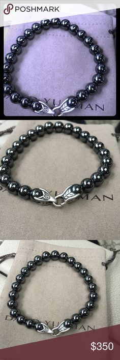 David Yurman new Gun Metal pearl bracelet NEW Men's 9 inches but can be adjusted just ask for no charge.  Rare piece David Yurman Accessories Jewelry