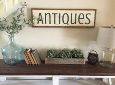 antiques sign rustic wood framed sign by HouseOn77thSigns on Etsy