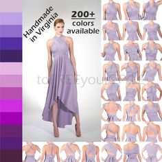 HIGH-LOW infinity dress in PURPLES, Free-Style Dress, infinity wrap dress, convertible dress, high-l Skirt Fashion, Fashion Dresses, Infinity Wrap Dresses, High Low Bridesmaid Dresses, Bridesmaids, Convertible Dress, Convertible Clothing, Multi Way Dress, Pregnant Wedding