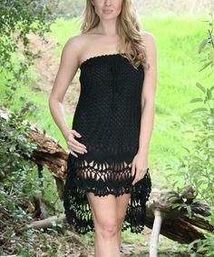 Look at this #zulilyfind! Black Crochet Strapless Hi-Low Dress by Ananda's Collection #zulilyfinds