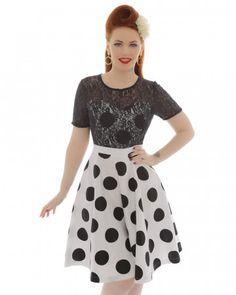 'Stacey' Monochrome Polka Dot Swing Dress