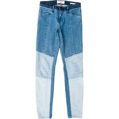 Pre-owned Frame Denim Patched Skinny Jeans (€105) ❤ liked on Polyvore featuring jeans, pants, blue, patchwork jeans, skinny fit denim jeans, light wash skinny jeans, frame jeans and mid rise jeans