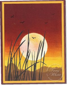 Brayered Sunset card with Stampin Up Inspired by Nature. Video: http://stampwithtami.com/blog/2009/08/video-tutorial-breathtaking-inspired-by-nature-sunset/
