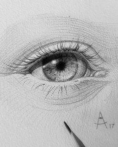 Eye Pencil Sketch, Pencil Art Drawings, Art Drawings Sketches, Eye Drawings, Human Face Drawing, Realistic Eye Drawing, Eye Art, Drawing Techniques, Drawing People