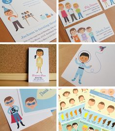 Amazing custom printable cards in Inspiration and ideas of cards, invitations and stationery for babies, children and adults parties, for events such as anniversaries or birthdays or dinners
