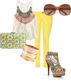 Summer 3, created by gsavaglia on Polyvore......I'm lookin for these yellow pants