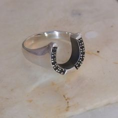 Sterling Silver & Sapphires Horseshoe Ring - Sterling Silver - Jewellery