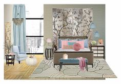 Check out this moodboard created on @olioboard: Serenity And Rose Quartz Loft Bedroom by fauxdonna