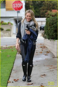 Hilary Duff wears our Hunter Original Tall in black.