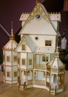 Pic 1 of 2 ~ Ashley Gothic Victorian Dollhouse Half inch scale Kit... 140.00, via Etsy.