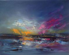 Thunderstorm - 40 x 50 cm, abstract landscape oil painting, blue, purple, magenta, orange (2016) Oil painting by Beata Belanszky Demko | Artfinder